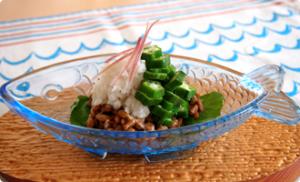 納豆とオクラ